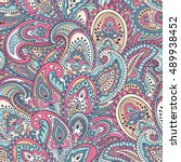 indian floral paisley medallion ... | Shutterstock .eps vector #489938452