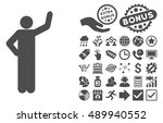 assurance pose icon with bonus... | Shutterstock .eps vector #489940552