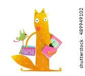 cartoon fox reading books with... | Shutterstock .eps vector #489949102