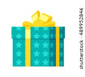 gift box vector icon in flat... | Shutterstock .eps vector #489952846