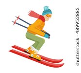skier isolated on white. person ... | Shutterstock .eps vector #489952882