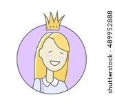 girl in crown avatar userpic... | Shutterstock .eps vector #489952888