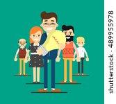 teamwork people together vector. | Shutterstock .eps vector #489955978