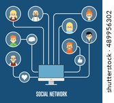 social network people and... | Shutterstock .eps vector #489956302