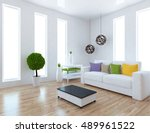 white room interior with... | Shutterstock . vector #489961522