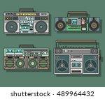 boombox set cassette stereo...   Shutterstock .eps vector #489964432