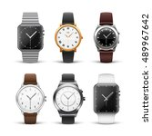 classic watches isolated on... | Shutterstock .eps vector #489967642