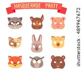 animals party masks vector set. ... | Shutterstock .eps vector #489967672