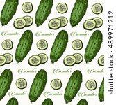 cucumber hand drawn vector... | Shutterstock .eps vector #489971212