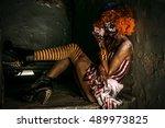 bloody scary clown. halloween.... | Shutterstock . vector #489973825