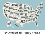 poster map of united states of... | Shutterstock .eps vector #489977566