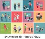 teachers day. set the teaching... | Shutterstock . vector #489987022
