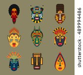ethnic masks set in flat style. ... | Shutterstock .eps vector #489994486