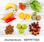 foods high in vitamin c on... | Shutterstock . vector #489997585