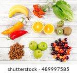 foods high in vitamin c on... | Shutterstock . vector #489997585
