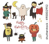 kids different halloween... | Shutterstock .eps vector #490002952