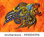 beautiful face of a lion on... | Shutterstock .eps vector #490004596