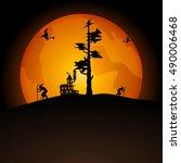halloween party. vector...   Shutterstock .eps vector #490006468