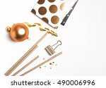 cute golden things  isolated on ... | Shutterstock . vector #490006996