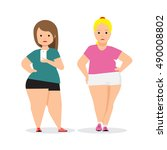 fat woman doing selfie.... | Shutterstock .eps vector #490008802
