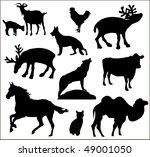 mixed set of vectorized animals ... | Shutterstock .eps vector #49001050