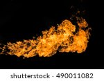 blaze of flame on black... | Shutterstock . vector #490011082
