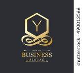y letter logo  gold emblem ... | Shutterstock .eps vector #490013566