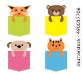 animals in the pocket. cute... | Shutterstock .eps vector #490017706