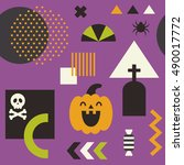 fun happy halloween seamless...   Shutterstock .eps vector #490017772