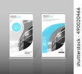 blue roll up  brochure template.... | Shutterstock .eps vector #490020466