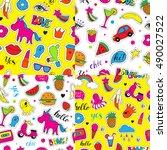 set of seamless vector patterns ... | Shutterstock .eps vector #490027522