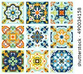set with beautiful seamless... | Shutterstock .eps vector #490034158