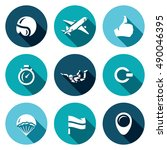 vector set of skydiving icons.... | Shutterstock .eps vector #490046395