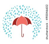 red umbrella under rain drops... | Shutterstock .eps vector #490046602