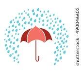 red umbrella under rain drops... | Shutterstock .eps vector #490046602