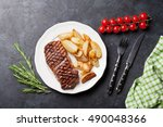 grilled striploin steak with... | Shutterstock . vector #490048366