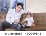 little girl and her father... | Shutterstock . vector #490049845