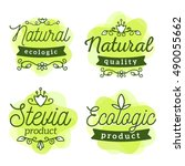 vector set of eco badges with... | Shutterstock .eps vector #490055662