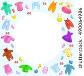 set of kids clothes. vector ... | Shutterstock .eps vector #490064986