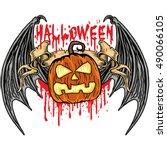 halloween  coat of arms with... | Shutterstock .eps vector #490066105