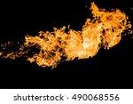 blaze of flame on black... | Shutterstock . vector #490068556