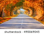 Autumn Fall Road Landscape  ...