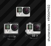 action cameras in different... | Shutterstock .eps vector #490069432
