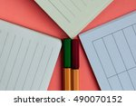 three open notebooks and two... | Shutterstock . vector #490070152