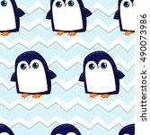 penguin seamless  background...   Shutterstock .eps vector #490073986