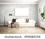 modern bright interior . 3d... | Shutterstock . vector #490080196