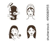 woman take care about her hair. ... | Shutterstock .eps vector #490080955