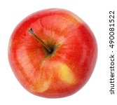 ripe red apple isolated on a...   Shutterstock . vector #490081522