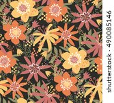 bold flowers   vector seamless... | Shutterstock .eps vector #490085146