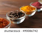 assortment of spices in glass...   Shutterstock . vector #490086742